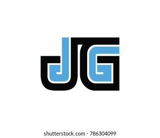 Initial letter JG Linked design logo  black blue