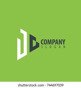 Initial Letter JG Linked Triangle Design Logo