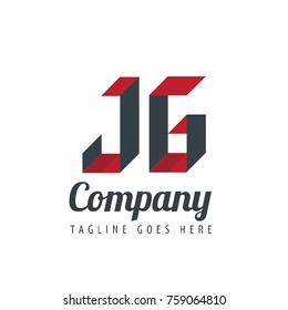 Initial Letter JG Logo With Ribbon Style