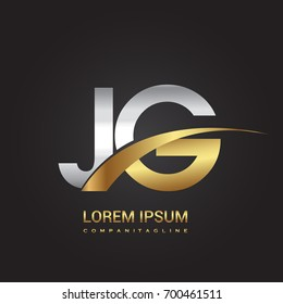 initial letter JG logotype company name colored gold and silver swoosh design. isolated on black background.
