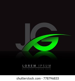 initial letter JG logotype company name colored green and black swoosh design. vector logo for business and company identity.