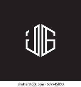 Initial letter JG, minimalist line art monogram hexagon shape logo, white color on black background