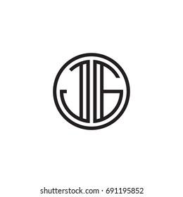 Initial letter JG, minimalist line art monogram circle logo, black color