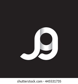 initial letter jg modern linked circle round lowercase logo white black