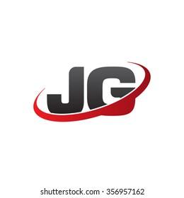 initial letter JG swoosh ring company logo red black