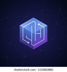 Initial letter JH, block chain, looping mono line circuit letter on hexagon cube logo, blue magenta gradient color on black blue network background