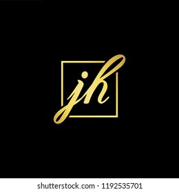 Initial letter JH HJ minimalist art monogram shape logo, gold color on black background