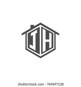 Initial letter JH House Logo Design for Property Company