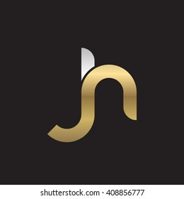 initial letter jh linked round lowercase logo gold silver black background