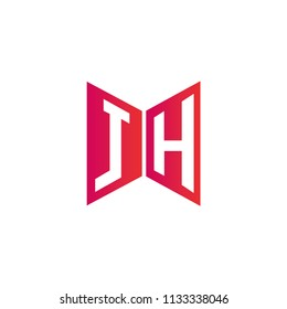 Initial Letter JH Logo Design, Hexagonal Shape in Flat Colored
