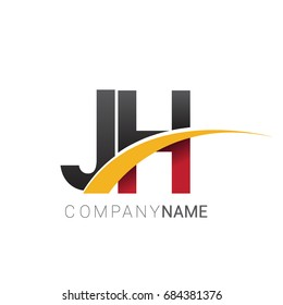 initial letter JH logotype company name colored red, black and yellow swoosh design. isolated on white background.