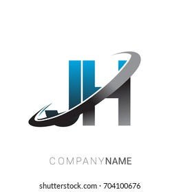 initial letter JH logotype company name colored blue and grey swoosh design. logo design for business and company identity.