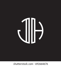 Initial letter JH, minimalist line art monogram circle shape logo, white color on black background