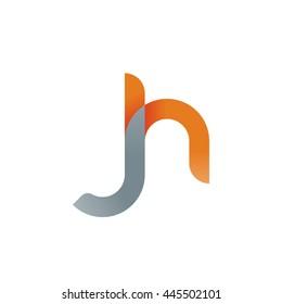 initial letter jh modern linked circle round lowercase logo orange gray