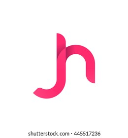 initial letter jh modern linked circle round lowercase logo pink