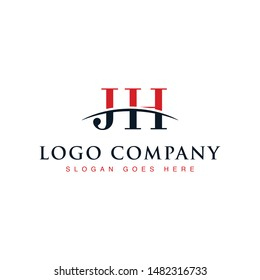 Initial letter JH, overlapping movement swoosh horizon logo company design inspiration in red and dark blue color vector