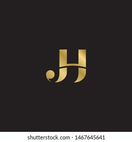 Initial letter jh uppercase modern logo design template elements. Gold letter Isolated on black  background. Suitable for business, consulting group company.