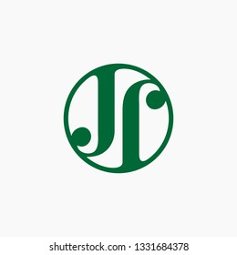 Initial letter jj with circle logo design inspiration