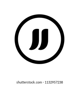 Initial Letter JJ Logo Design, Logo or Icon Template, Black and White Vector Illustration