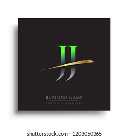 initial letter JJ logotype company name colored green and gold swoosh design. vector logo for business and company