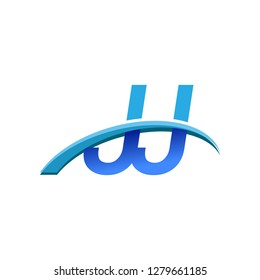 initial letter JJ logotype company name colored blue and swoosh design. vector logo for business and company identity.