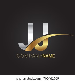 initial letter JJ logotype company name colored gold and silver swoosh design. isolated on black background.