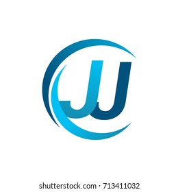 initial letter JJ logotype company name blue circle and swoosh design. vector logo for business and company identity.