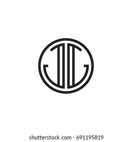 Initial letter JJ, minimalist line art monogram circle logo, black color