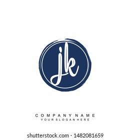 Initial letter JK beautiful handwriting logo vector template