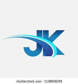 initial letter JK logotype company name colored blue and swoosh design. vector logo for business and company identity.