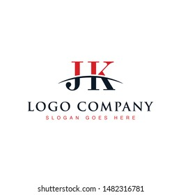 Initial letter JK, overlapping movement swoosh horizon logo company design inspiration in red and dark blue color vector