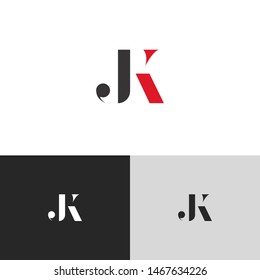 Initial Letter jk uppercase modern logo design template elements. red letter Isolated on black white grey background. Suitable for business, consulting group company.