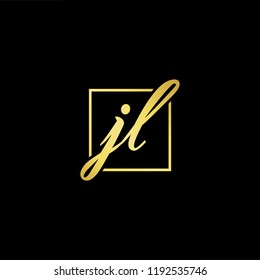 Initial letter JL LJ minimalist art monogram shape logo, gold color on black background