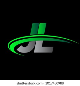 initial letter JL logotype company name colored green and black swoosh design. vector logo for business and company identity.