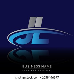 initial letter JL logotype company name colored blue and grey swoosh design. vector logo for business and company identity.