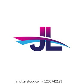 initial letter JL logotype company name colored blue and magenta swoosh design. vector logo for business and company