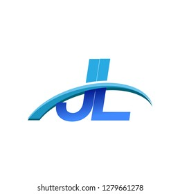 initial letter JL logotype company name colored blue and swoosh design. vector logo for business and company identity.