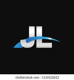 Initial letter JL, overlapping movement swoosh logo, metal silver blue color on black background