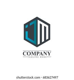 Initial Letter JM IM Hexagonal Design Logo