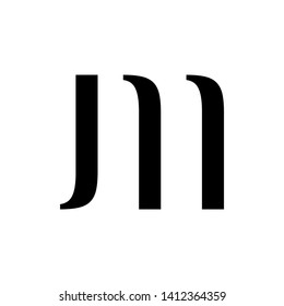 Initial letter jm minimalist typographic art monogram shape business brand identity logo, black color on white background.