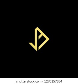 Initial letter JM MJ JE EJ minimalist art logo, gold color on black background.