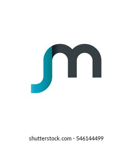 Initial Letter JM SM Rounded Lowercase Logo