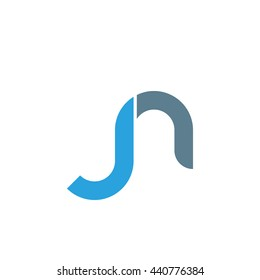 initial letter jn linked round lowercase logo blue