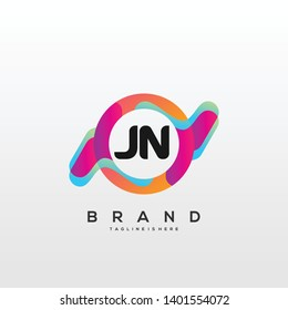Initial letter JN logo with colorful circle background, letter combination logo design for creative industry, web, business and company. - Vector