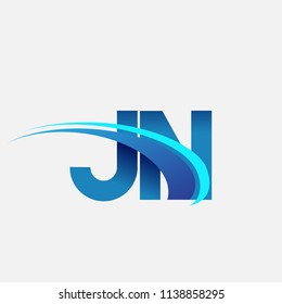 initial letter JN logotype company name colored blue and swoosh design. vector logo for business and company identity.