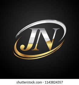initial letter JN logotype company name colored gold and silver swoosh design. isolated on black background.