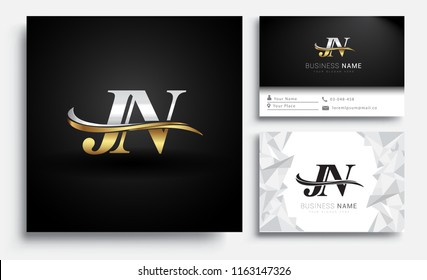 initial letter JN logotype company name colored gold and silver swoosh design. Vector sets for business identity on white background.