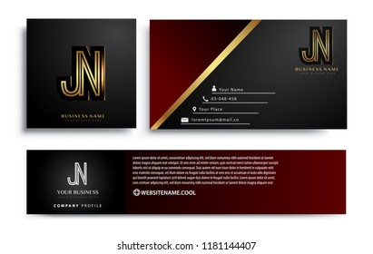 initial letter JN logotype company name colored gold elegant design. Vector sets for business identity on black background.