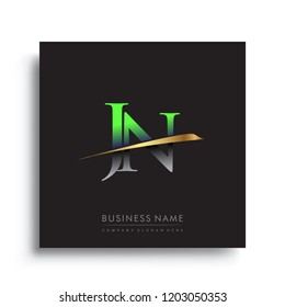 initial letter JN logotype company name colored green and gold swoosh design. vector logo for business and company