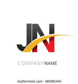 initial letter JN logotype company name colored red, black and yellow swoosh design. isolated on white background